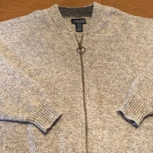 LANDS' END Gray Full Zip Cardigan Sweater Size L